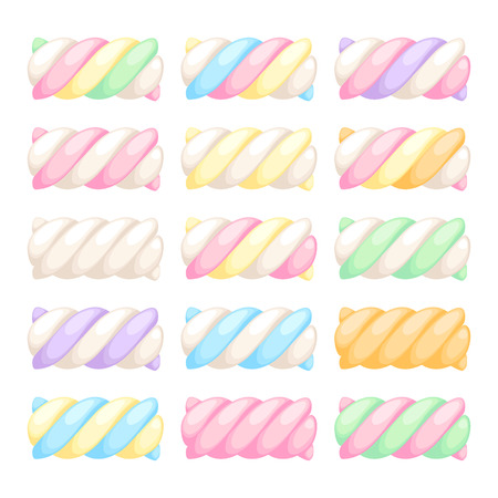 twists: Marshmallow twists set vector illustration. Pastel colored sweet chewy candies.