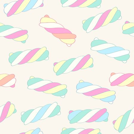 pastel: Marshmallow twists seamless pattern vector illustration. Pastel colored sweet chewy candies background.