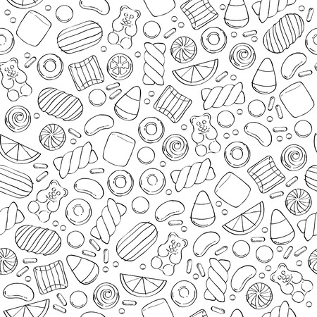 Assorted sweets seamless pattern - marshmallow gummy bears hard candies dragee jelly beans peppermint candy. Hand drawn sketch style vector illustration background. Illustration