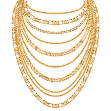 gold chain: Many chains golden metallic necklace. Personal fashion accessory design. Illustration