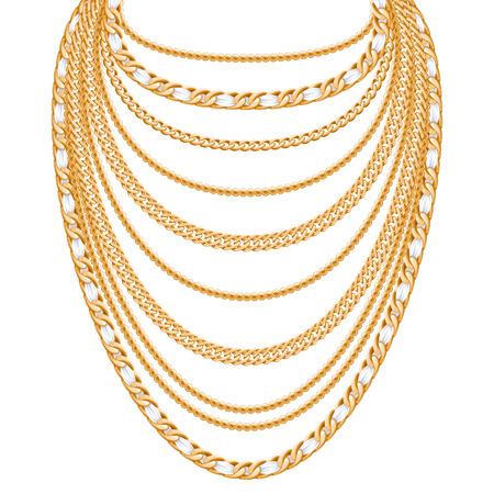Muchas cadenas de collar metálico de oro. Diseño de accesorio de moda personal.