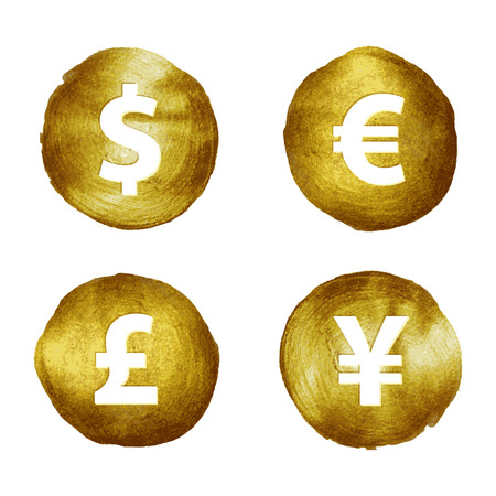 currency glitter: Currency symbols on golden paint brush stroke hand drawn set vector illustration. USD Dollar GBP pound japan yen Euro sign.