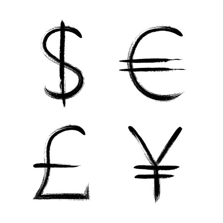 Currency symbols hand drawn set vector illustration. USD Dollar GBP pound japan yen Euro sign.