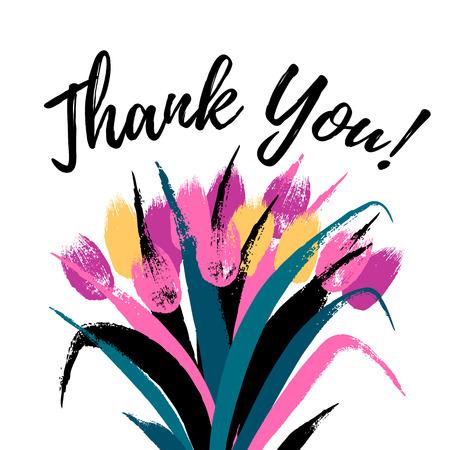 Ramo de los tulipanes dibujados a mano pinceladas pintadas ilustración vectorial. Gracias tarjeta de plantilla de tarjeta de cotización de motivación.