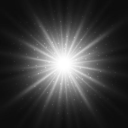 Black and white retro light sunburst background. Vector star burst glow shine with sparkles  illustration. Vettoriali