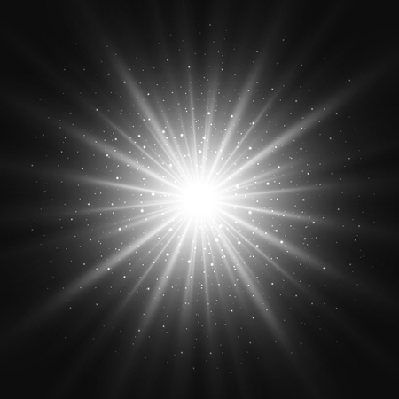 Black and white retro light sunburst background. Vector star burst glow shine with sparkles  illustration. Stock Illustratie