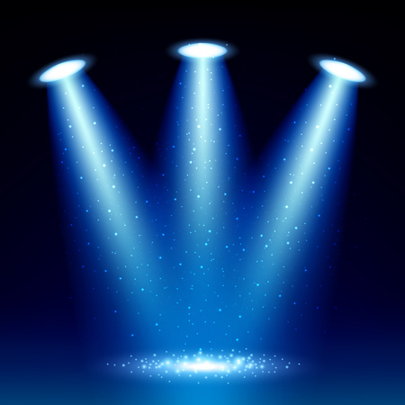 floodlight: Colorful glow spotlight background with sparkles vector illustration. Blue floodlight projector.