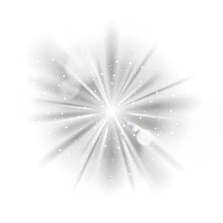 Black and white retro light sunburst background. Vector star burst glow shine with sparkles  illustration. 矢量图像