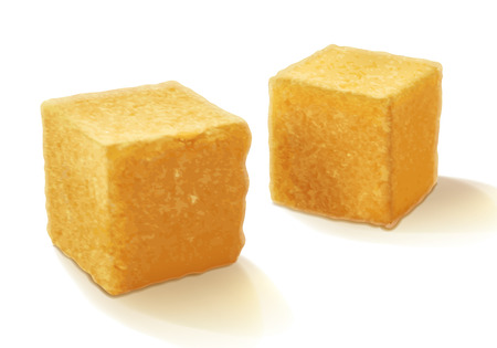 granules: Brown realistic sweet  cane sugar cubes isolated vector illustration. Good for packaging design.
