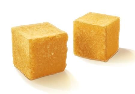 Brown realistisch riet zoete suiker kubussen geïsoleerd vector illustratie. Goed voor het verpakken van design.
