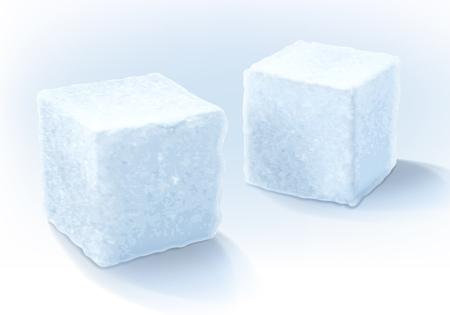 Witte realistische zoete suiker kubussen geïsoleerd vector illustratie. Goed voor het verpakken van design. Vector Illustratie