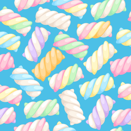 twists: Marshmallow twists seamless pattern vector illustration. Pastel colored sweet chewy candies background.