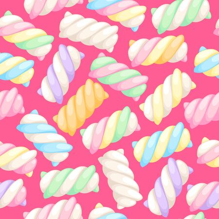 Marshmallow twists seamless pattern vector illustration. Pastel colored sweet chewy candies background.