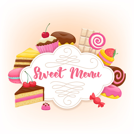chocolate splash: Assorted sweets colorful background with chocolate splash drop blot. Lollipops, cake, macarons, chocolate bar, candies and donut on shine background. Sweet shop. Sweet menu design.