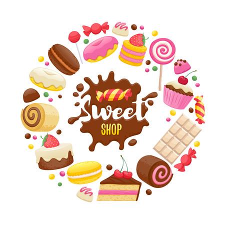 各種お菓子チョコレート スプラッシュ ドロップしみとカラフルな背景。キャンディー、ケーキ、マカロン、チョコレート ・ バー、キャンディー、  イラスト・ベクター素材
