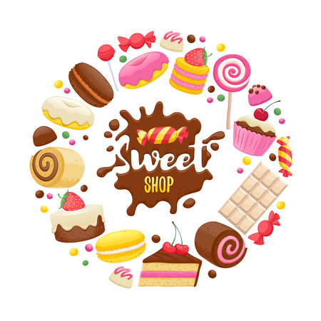 candy shop: Assorted sweets colorful background with chocolate splash drop blot. Lollipops, cake, macarons, chocolate bar, candies and donut on shine background. Sweet shop.