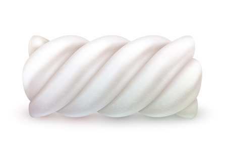 chewy: Sweet realistic marshmallow twist vector illustration isolated on white backgrownd. Chewy candy good for packaging design.