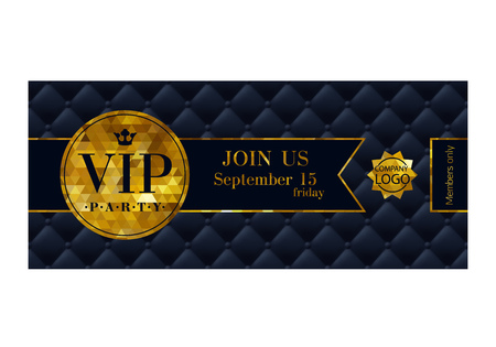 VIP party premium invitation card poster flyer. Black and golden design template. Quilted pattern decorative background with ribbon and round badge. Vectores