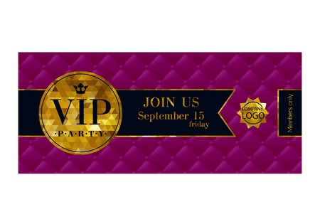 badge with ribbon: VIP party premium invitation card poster flyer. Purple and golden design template. Quilted pattern decorative background with ribbon and round badge.