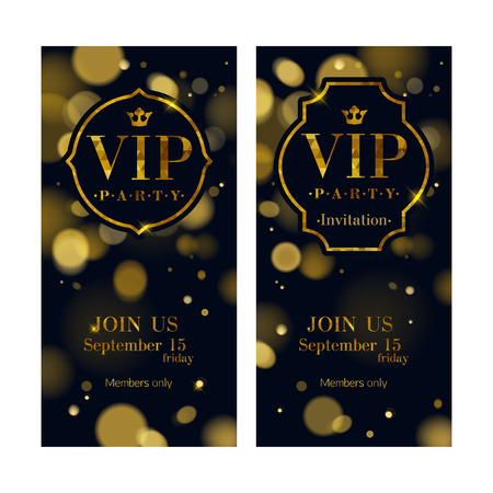 VIP party premium invitation cards posters flyers set. Black and golden design template. Glow bokeh and quilted pattern decorative background. Mosaic faceted letters and frames.