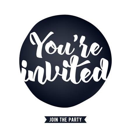 Jesteś zaproszony napis projektowania ilustracji wektorowych z plamy i wstążką. Biorąc pod uwagę ślubu urodziny projektu uroczystość.