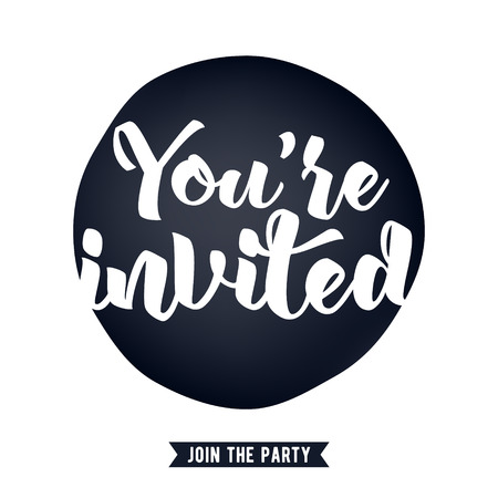 You're invited lettering design vector illustration with stain and ribbon. Good for wedding birthday party celebration design. Vettoriali