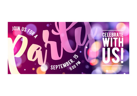 Party colorful invitation card poster flyer. Pink and purple glowing lights bokeh design template.