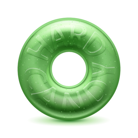 hard: Round ring green hard candy realistic vector  illustration. Illustration