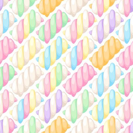 twists: Colorful marshmallow twists seamless diagonal pattern vector illustration. Pastel colored sweet chewy candies background.