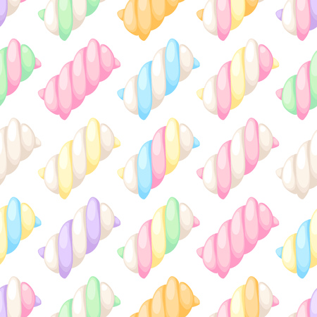 chewy: Colorful marshmallow twists seamless diagonal pattern vector illustration. Pastel colored sweet chewy candies background.