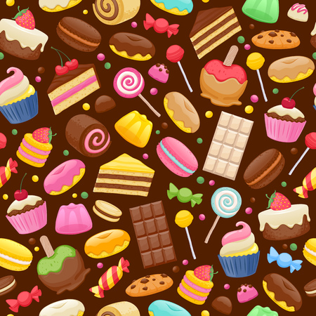 cake background: Assorted sweets colorful seamless background. Lollipops cake macarons chocolate bar candies and donut pattern.