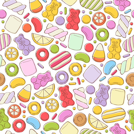 Colorful sweets seamless background - marshmallow gummy bears hard candies dragee jelly beans peppermint candy. Hand drawn sketch style vector pattern illustration.