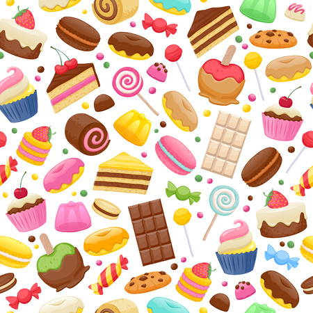 dragee: Assorted sweets colorful seamless background. Lollipops cake macarons chocolate bar candies and donut pattern.