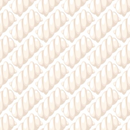 twists: White marshmallow twists seamless diagonal pattern vector illustration. Pastel colored sweet chewy candies background. Illustration