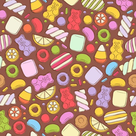 peppermint candy: Colorful sweets seamless background - marshmallow gummy bears hard candies dragee jelly beans peppermint candy. Hand drawn sketch style vector pattern illustration.