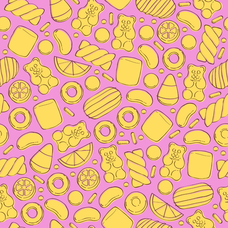 gummy: Colorful sweets seamless background - marshmallow gummy bears hard candies dragee jelly beans peppermint candy. Hand drawn sketch style vector pattern illustration.