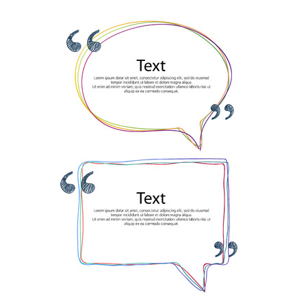conversations: Colorful quote bubble frame templates set vector illustration. Hand drawn scribble design.