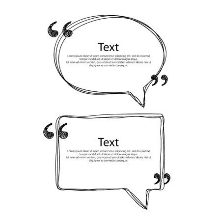 dialogo: plantillas del marco de la burbuja de la cita de conjunto Ilustración vectorial. Dibujado a mano de diseño garabatos.