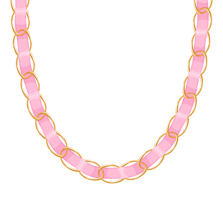 personal accessory: Chunky chain golden metallic necklace or bracelet with blue ribbon. Personal fashion accessory design.