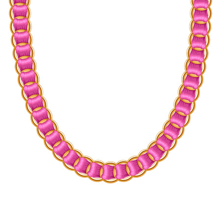 chunky: Chunky chain golden metallic necklace or bracelet with pink ribbon. Personal fashion accessory design.