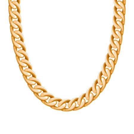 땅딸막 한 체인 황금 금속 목걸이 또는 팔찌. 개인 패션 액세서리 디자인. 벡터 브러쉬가 포함되어 있습니다. 일러스트