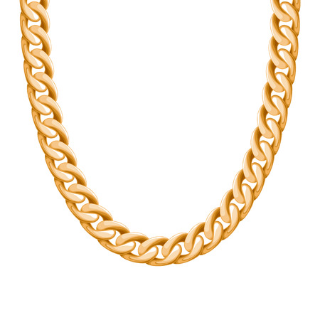 gold chain: Chunky chain golden metallic necklace or bracelet. Personal fashion accessory design. Vector brush included.