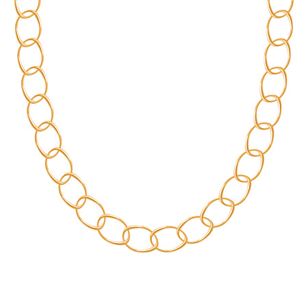 accessory: Chunky chain golden metallic necklace or bracelet. Personal fashion accessory design. Vector brush included.