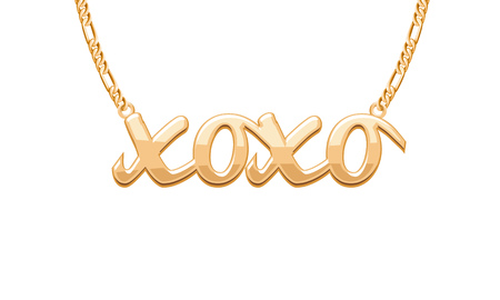 xoxo: Golden XOXO kiss hug word pendant on chain necklace. Jewelry design.