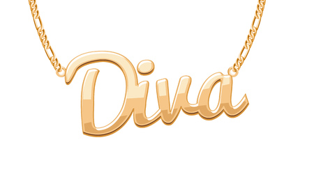diva: Golden DIVA word pendant on chain necklace. Jewelry design.
