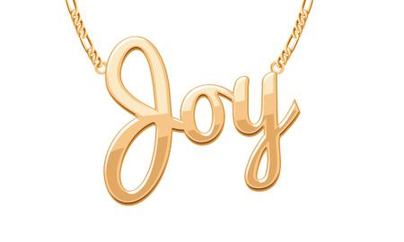 wort: Goldene JOY Wort Anhänger auf Kette. Schmuck-Design.