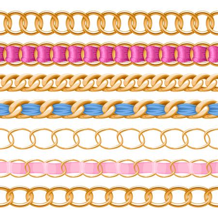 cepillo: Cadenas de oro establecidos con coloridos cepillo vector cinta de tela roscado. Bueno para collar, pulsera, joyería de diseño de accesorios.