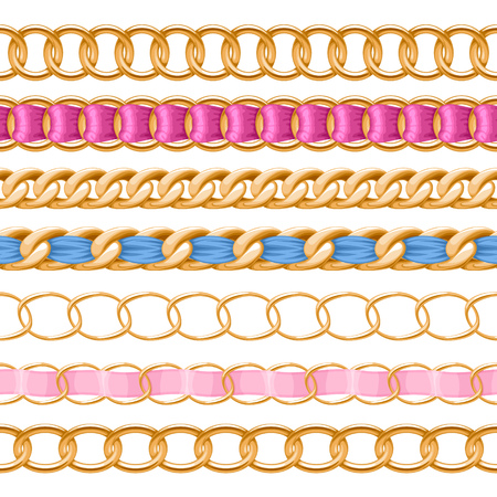 chain link: Golden chains set with colorful threaded fabric ribbon vector brush. Good for necklace, bracelet, jewelry accessory design.