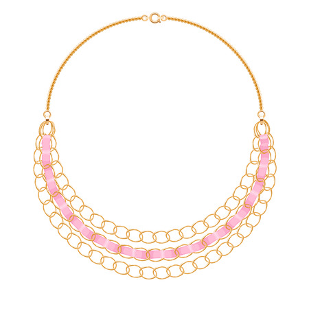 personal accessory: Many chains golden metallic necklace with pink ribbons. Personal fashion accessory design.