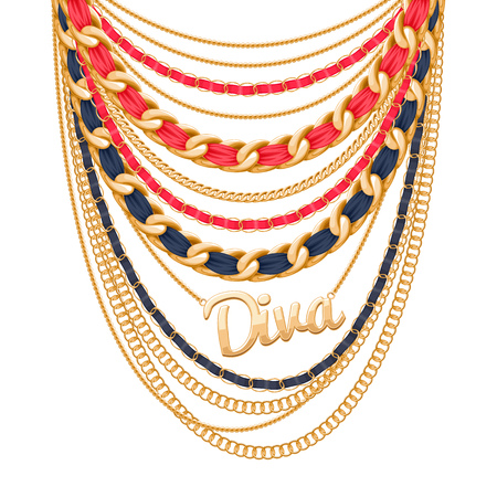 personal accessory: Many chains golden metallic and pearls necklace. Ribbons wrapped. Diva word pendant. Personal fashion accessory design. Illustration